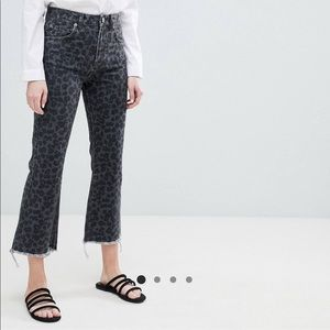 ASOS Cropped Flare Jeans in Dark Leopard Print